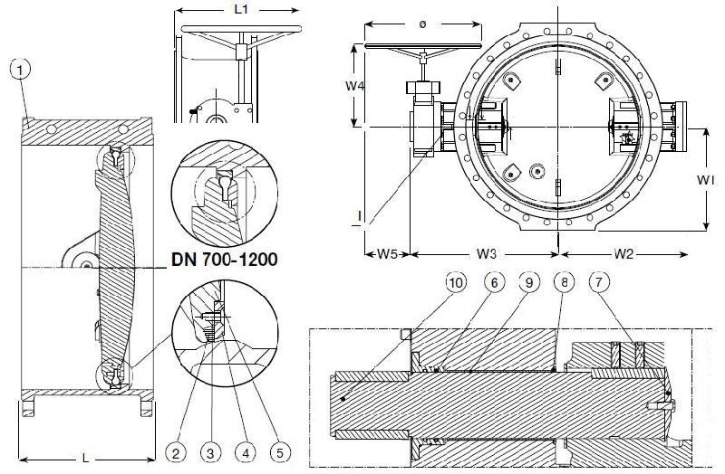 Затворы дисковые фланцевые с двойным эксцентриком