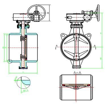Затворы дисковые поворотные с тройным эксцентриситетом приварные