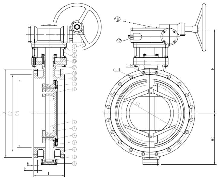 Затворы дисковые поворотные с двойным эксцентриситетом